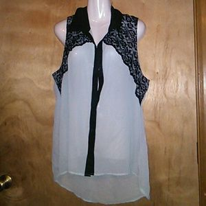 Studio Y silky and lace button front blouse